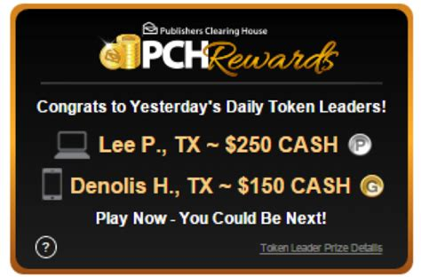Pch Daily Token Leaderboard - desktop and mobile token leaderboards now separate on pch com pch blog