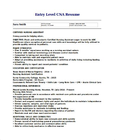 Cna Resumes by 9 Cna Resume Sles Sle Templates