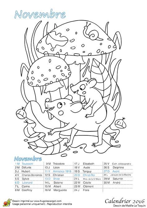 Dessin à colorier du calendrier des animaux novembre 2016