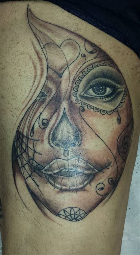 day of the dead sugar skull black and grey shade