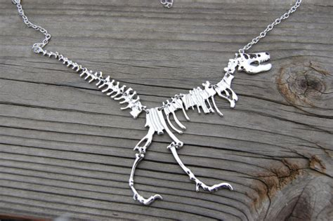 silver dinosaur necklace extinct ancient jurassic by