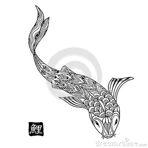 doodle meaning fish koi fish japanese carp line drawing for