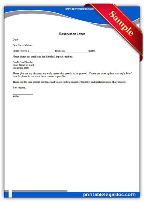 Reservation Letter Doc Free Printable Reservation Letter Form Generic