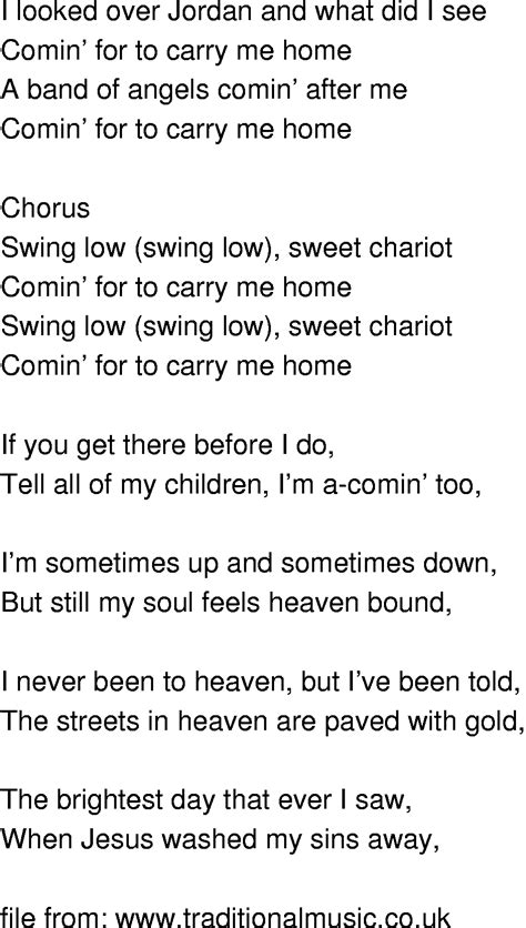 swinging song lyrics old time song lyrics swing low sweet chariot