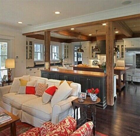 separate kitchen from living room ideas open floor plan bar and beams to separating area living room homey and liveable