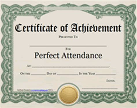 printable perfect attendance award certificate templates