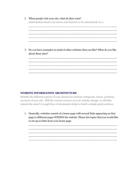 website design questionnaire form sle web design questionnaire