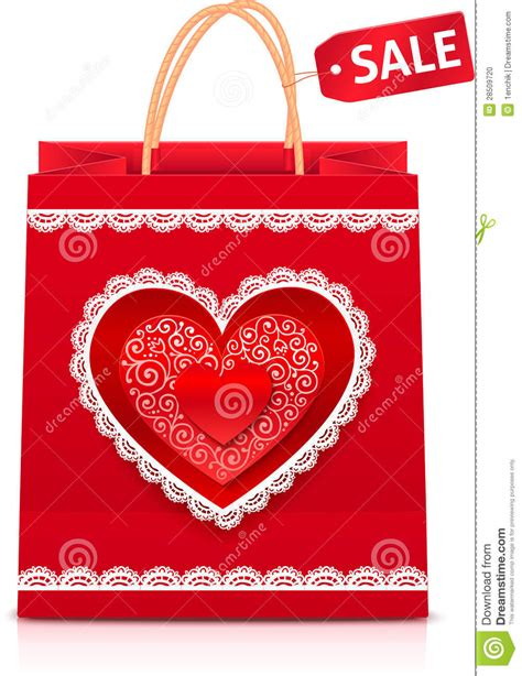 shopping for s day valentines day paper shopping bag stock vector image