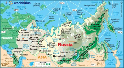 map of russia with cities rivers and mountains russia large color map