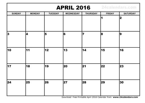 printable monthly calendars for 2016 april 2016 calendar printable