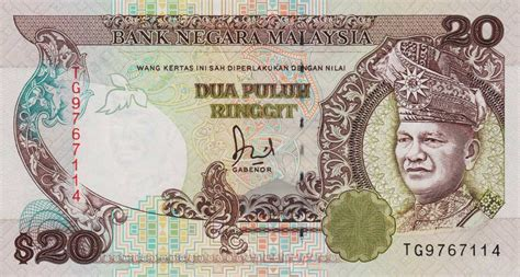 Malaysia 1 Ringgit 1989 Aunc realbanknotes gt malaysia p30 20 ringgit from 1989