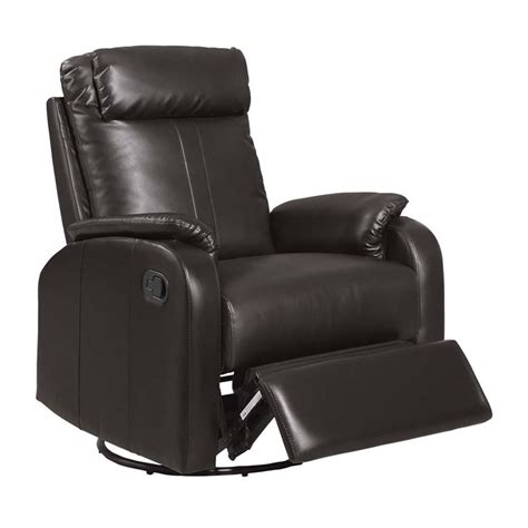 in recliner leather swivel rocker recliner in dark brown i8081br