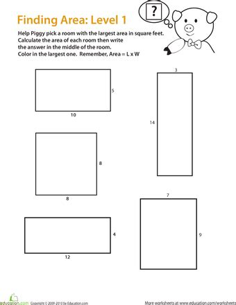Area Of A Square Worksheet by Find The Area Of A Rectangle Easy Worksheets Math And