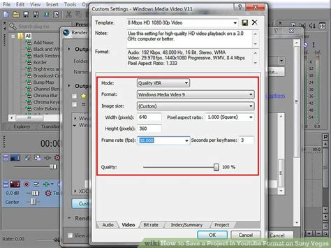 format audio video youtube how to save a project in youtube format on sony vegas 13