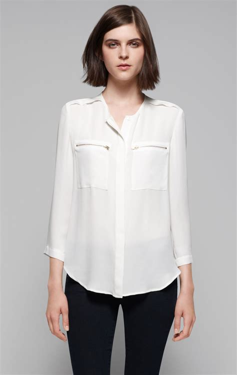 White Blouse theory brundia silk blouse in white lyst