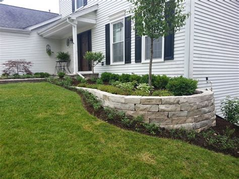 Natural Stone Front Entrance Retaining Wall Landscape Front Garden Retaining Walls