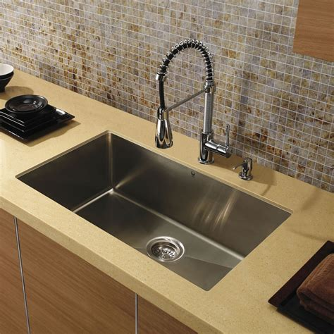 Sinks Kitchen Undermount Vigo Vgr3219c 32 Undermount 16 Single Bowl Kitchen Sink In Stainless Steel