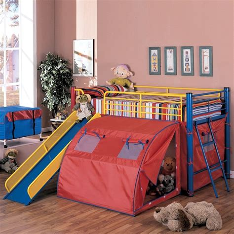 Toddler Bunk Beds With Slide Coaster Furniture 7239 Bunk Bed With Slide And Tent Contemporary Beds By