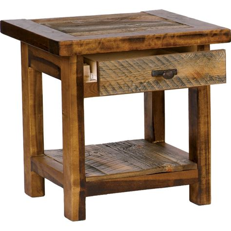 Rustic End Tables Rustic Wyoming Single Drawer End Table