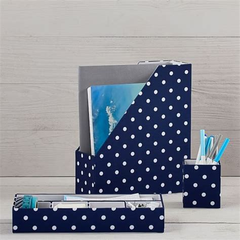 blue and white desk accessories fabric desk accessories northfield navy dot pbteen