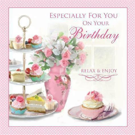 tea cake stand vase flowers cup cakes slice design female happy birthday card ebay