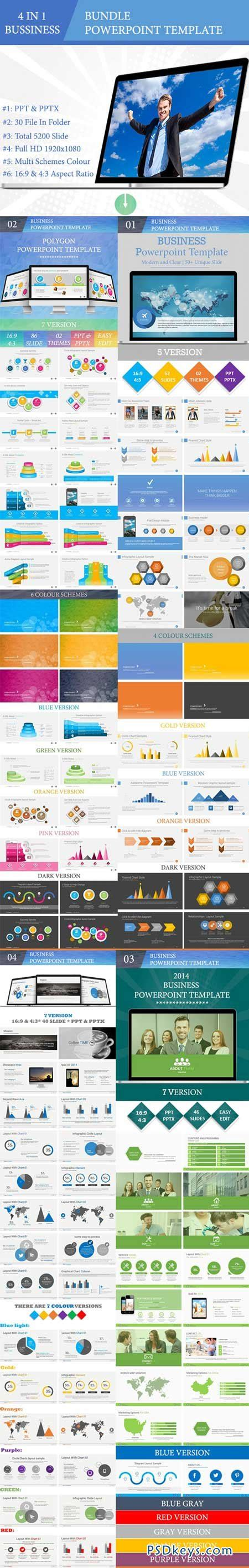 Template Powerpoint 4 In 1 Business Powerpoint Bundle bundle 4 in 1 business powerpoint templates 9013192 187 free