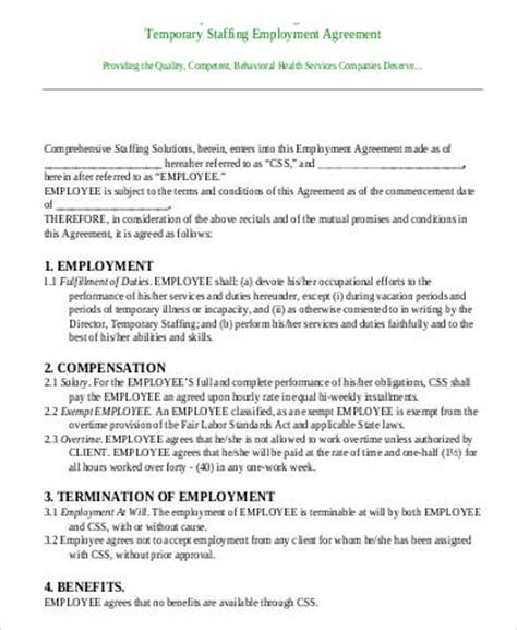 temporary employment agreement template employment agreements in pdf