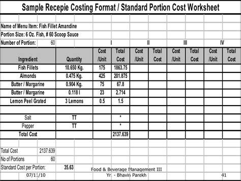 standard cost card template standard recepies standard specifications yield analysis