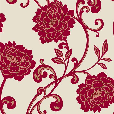 statement alanis cream red floral wallpaper