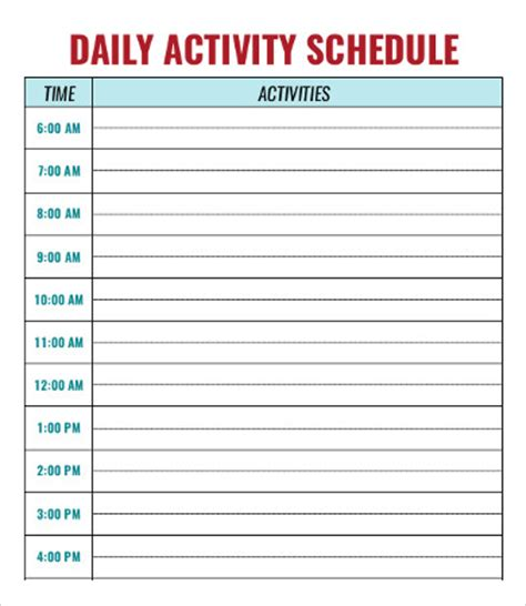 daily activity schedule template daycare schedule template 7 free word pdf format