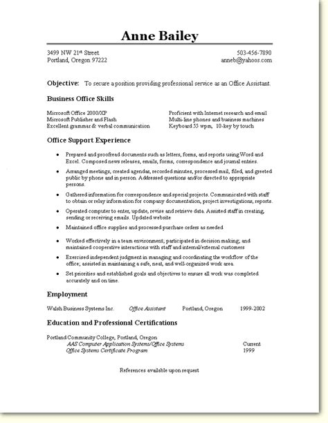 office resume objective skill based resume sle office assistant