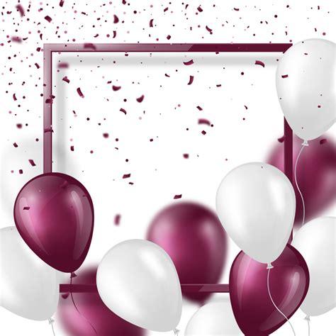 purple  white balloon  frame background vector