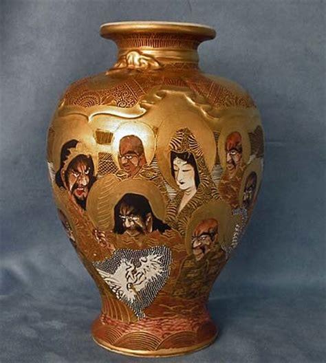 antique japanese satsuma pottery vase meiji period signed