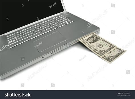 Make Money With Your Photos Online - cash coming out of a laptop make money with your computer online or the web stock