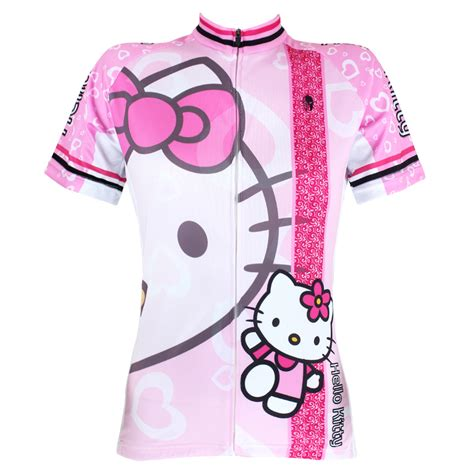 Fit Bike Co Black Kaos Anime anime pink hello cycling clothes sleeved