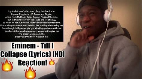 eminem till i collapse lyrics eminem till i collapse lyrics hd reaction youtube