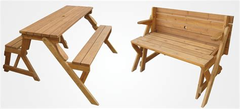 picnic table folds into bench a garden bench that unfolds into a picnic table
