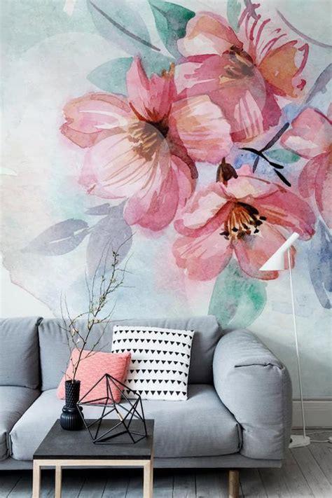 floral watercolor mural adhesive wallpaper removable