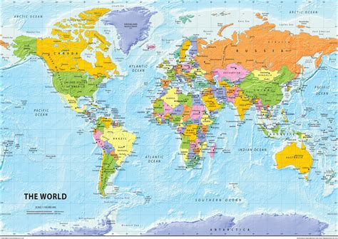 The World the world political map tiger moon