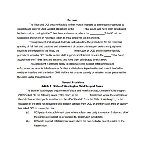 Child Template by 8 Sle Child Support Agreements Sle Templates