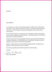 Cover Letter For Nursing School by Letters Of Recommendation Nursing School Sles Cover