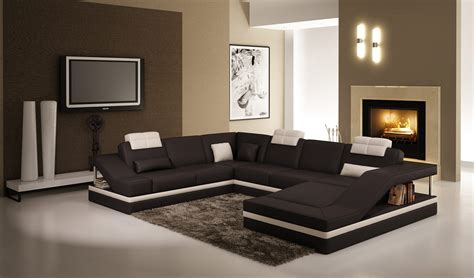5039 Contemporary Black And White Leather Sectional Sofa W Black And White Sectional Sofa