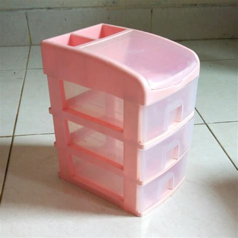 rak laci plastik kecil pink perabotan rumah di carousell