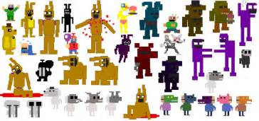 Pixel fnaf 3 minigame characters by tazzy1337