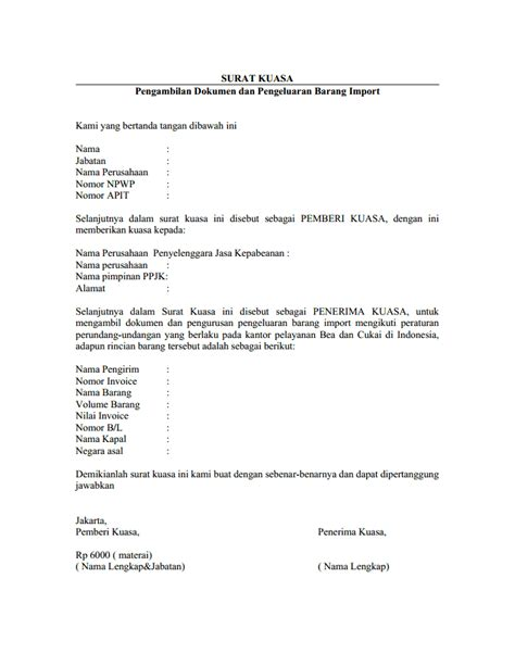 Surat Kuasa Pengambilan Dokumen by Contoh Surat