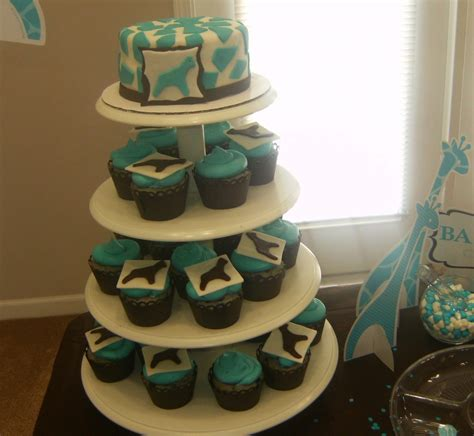 Blue Safari Baby Shower Cake by Safari Blue Baby Shower Cupcakes Cakecentral