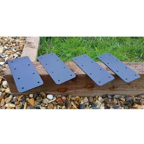 4 x timber railway sleeper brackets wooden