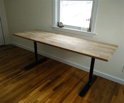 butcher block countertop table ikea hack