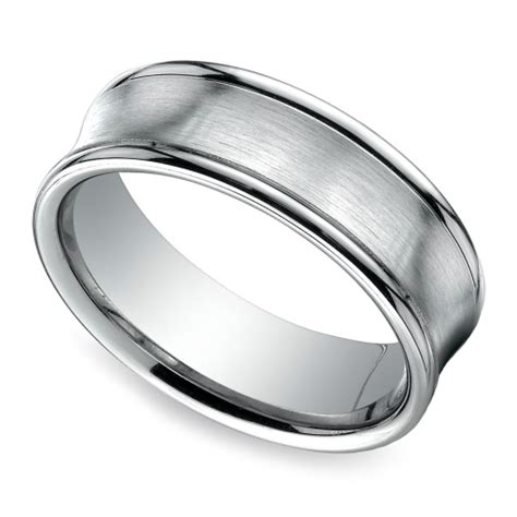 concave s wedding ring in white gold 7 5mm