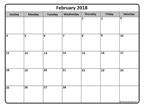 printable monthly weekly calendar printable monthly calendar february 2018 journalingsage com